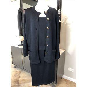 St John 3 Pc Knit Cardigan Cami Skirt Set L